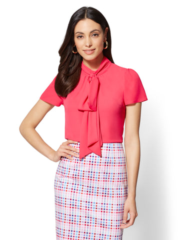 7th Avenue - Mock-Neck Bow Blouse in Tea Berry