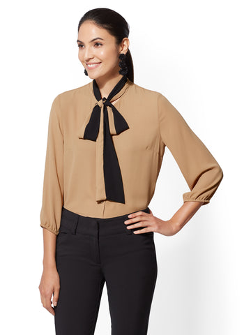 7th Avenue - Colorblock Bow Blouse in Classic Camel