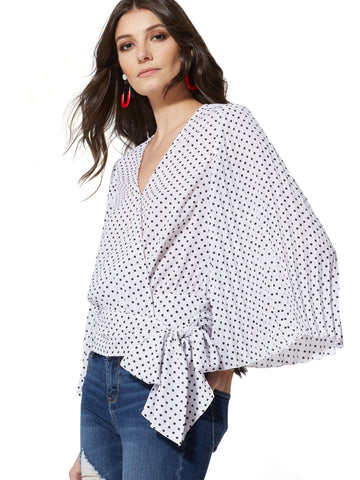 fc05386679be NEW YORK   COMPANY Dot-Print Wrap Blouse in Optic White