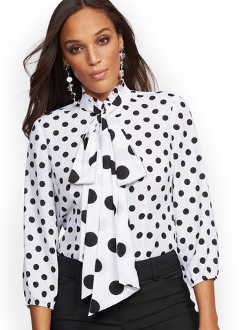 c310fa32f928 NEW YORK   COMPANY Dot-Print Bow Blouse in Black   White