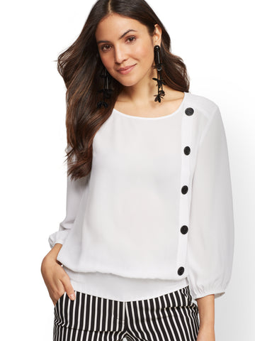 6cd0ebf9d63 New York   Company Button-Accent Blouse in Paper White