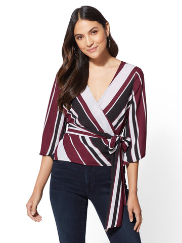NEW YORK   COMPANY Stripe Belted Wrap Blouse in Burgundy Spice b54f01ef8