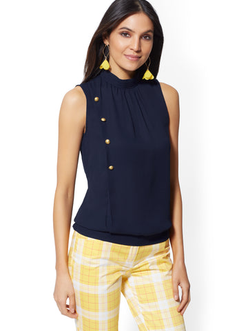 Button-Accent Mock-Neck Blouse in Grand Sapphire