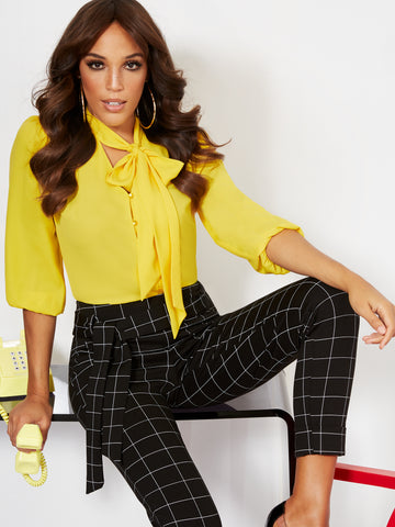 Button-Front Bow Blouse in Top Banana