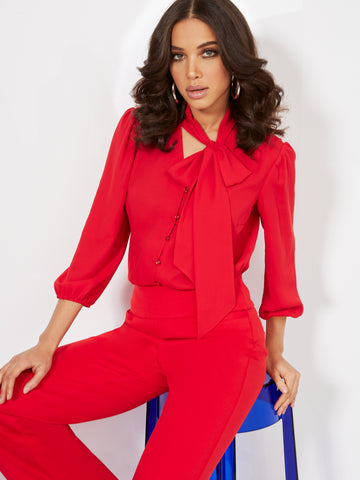 Button-Front Bow Blouse in Siren Red
