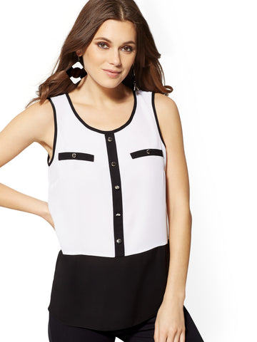 White Contrast-Trim Sleeveless Top in Optic White