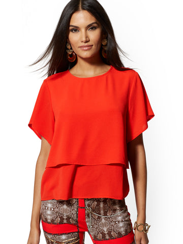 Flutter-Sleeve Tiered-Hem Blouse in Bell Pepper Red