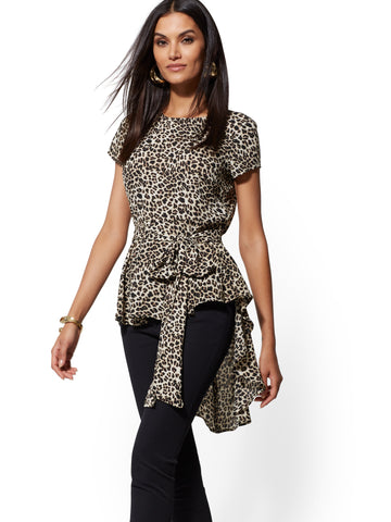 95722a7570d8 New York & Company Leopard-Print Belted Hi-Lo Top in Black