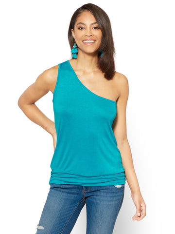Soho Soft Tee - Shirred One-Shoulder Top in Turquoise
