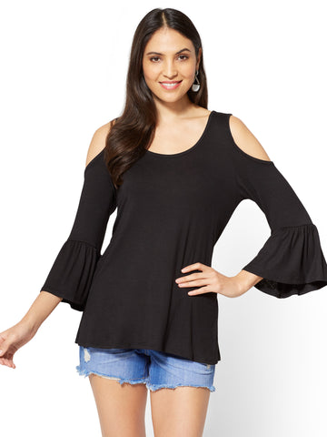 Soho Soft Tee - Cold-Shoulder Bell-Sleeve Top in Black