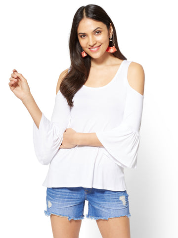 Soho Soft Tee - Cold-Shoulder Bell-Sleeve Top in Paper White