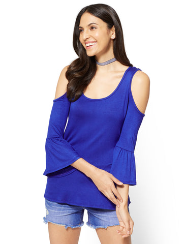 Soho Soft Tee Cold-Shoulder Bell-Sleeve Top in Rhapsody Blue