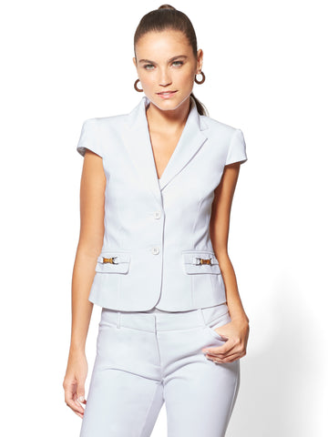 7th Avenue - Bamboo-Accent Two-Button Jacket in Optic White