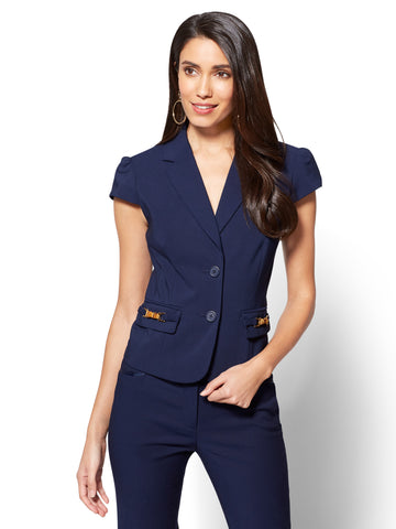 7th Avenue - Bamboo-Accent Two-Button Jacket in Grand Sapphire