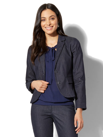 7th Avenue - Two-Button Jacket - Signature in Hidden Blue