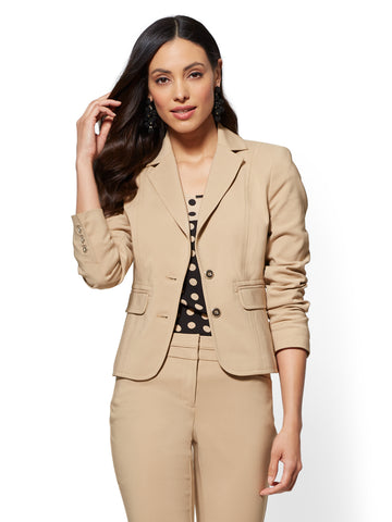 7th Avenue - Topstitched Two-Button Jacket in Sensuous Sand