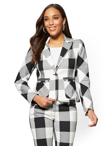 7th Avenue - One-Button-Jacket - Gingham in Black/White