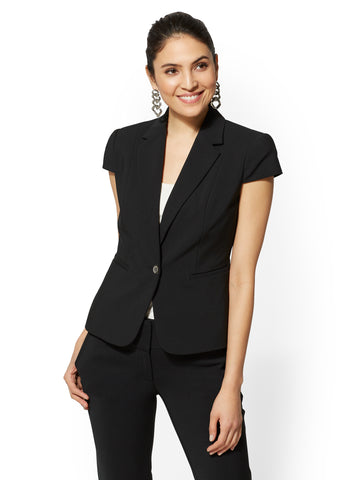 7th Avenue - Black Ruffled One-Button Jacket in Black
