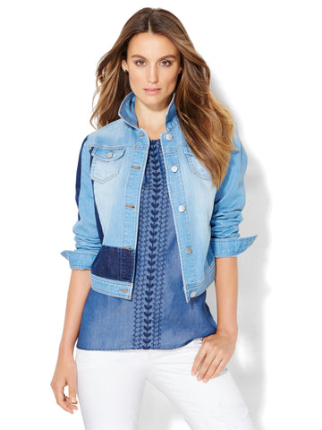 Soho Jeans - Patchwork Denim Jacket in Patchwork Blue