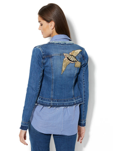 Soho Jeans - Bird-Accent Denim Jacket in Razor Blue Wash