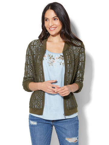 Lace Bomber Jacket in Woodland Green