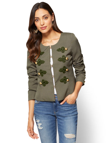 Contrast-Trim Jacket  in Woodland Green
