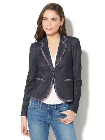 7th Avenue Jacket - Single-Button - Metallic Tweed-Trim in Navy