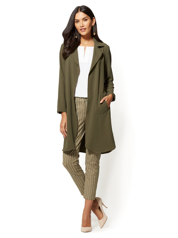 7th Avenue - Open-Front Long Jacket in Woodland Green