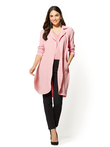 7th Avenue - Open-Front Long Jacket in Park Avenue Pink