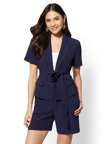 7th Avenue Navy Open- Front Jacket in Grand Sapphire