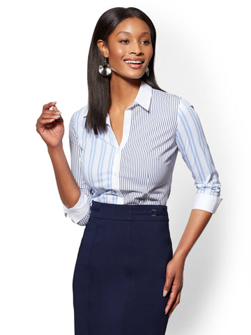 7th Avenue - Mixed-Stripe Madison Stretch Shirt in Bluebell