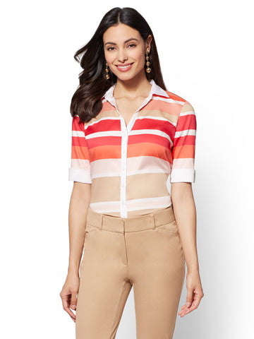 7th Avenue - Striped Madison Stretch Shirt in Tea Berry