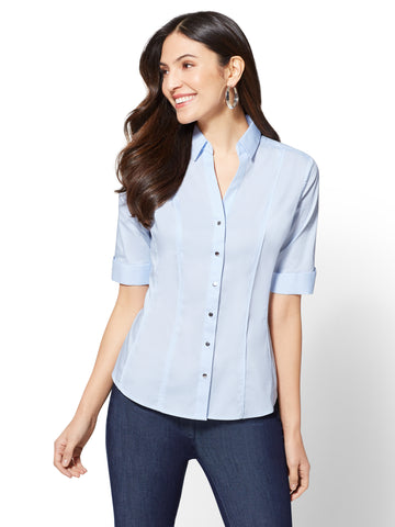 7th Avenue - Piped  Elbow Sleeve Madison Shirt in Blue Fizz