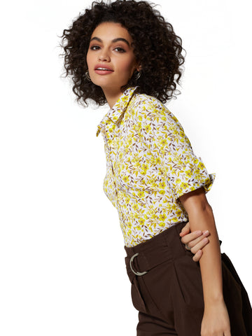 Madison Stretch Shirt - Floral - 7th Avenue in Optic White