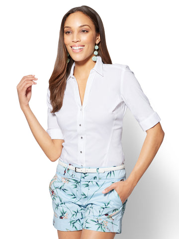 7th Avenue - Madison Stretch Shirt - Elbow Sleeve in Optic White