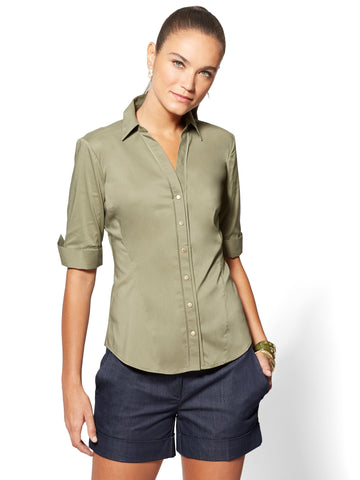 7th Avenue - Madison Stretch Shirt - Elbow Sleeve in Olive