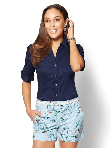 7th Avenue - Madison Stretch Shirt - Elbow Sleeve in Grand Sapphire