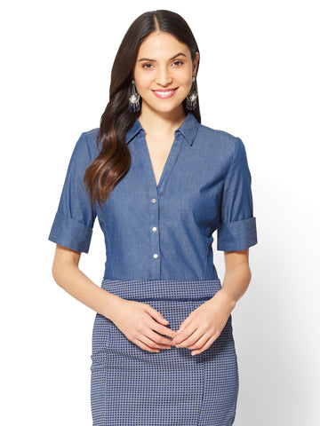7th Avenue - Madison Stretch Shirt - Ultra-Soft Chambray in Medium Blue