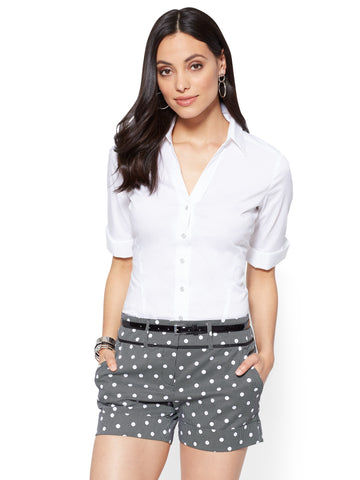 Madison Stretch Shirt Elbow-Length Sleeve in Optic White
