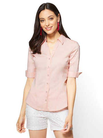 Madison Stretch Shirt Elbow-Length Sleeve in Powdered Blush