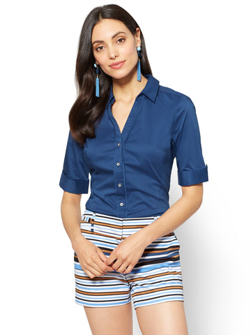 Madison Stretch Shirt Angled Seams in True Indigo