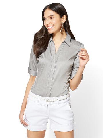 Madison Stretch Shirt Angled Seams in Black & Winter White