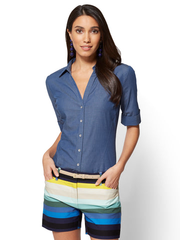 Madison Stretch Shirt Ultra-Soft Chambray in Medium Blue