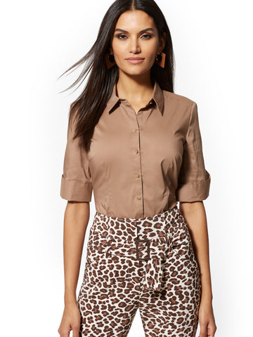 Brown Madison Stretch Shirt in Coco Beach