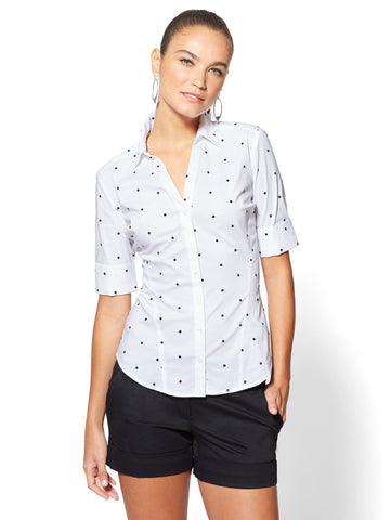 7th Avenue - Madison Stretch Shirt - Embroidered Dot in Optic White