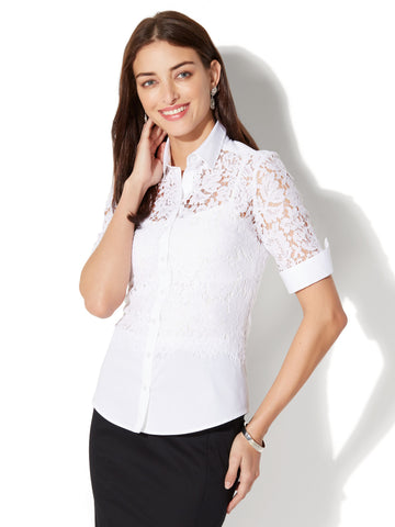 7th Avenue - Madison Stretch Shirt - Lace Panel in Optic White