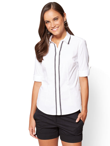 Madison Stretch Shirt - Lace Trim in Optic White