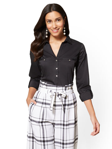 7th Avenue - Popover Madison Stretch Shirt in Black