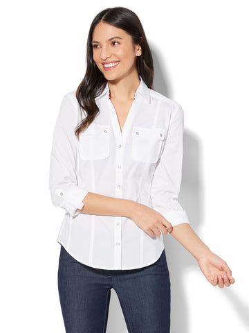 7th Avenue - Madison Stretch Shirt - Striped Grosgrain-Trim in Optic White