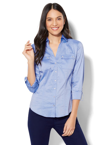 7th Avenue - Madison Stretch Shirt - Striped Grosgrain Trim in Blue Streak